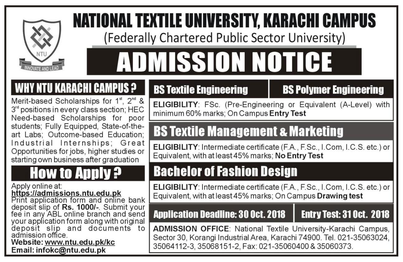 Karachi Campus Admissions Ntu