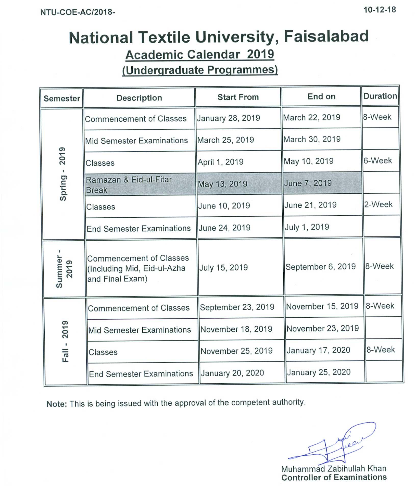Academic Calendar - National Textile University Faisalabad | NTU