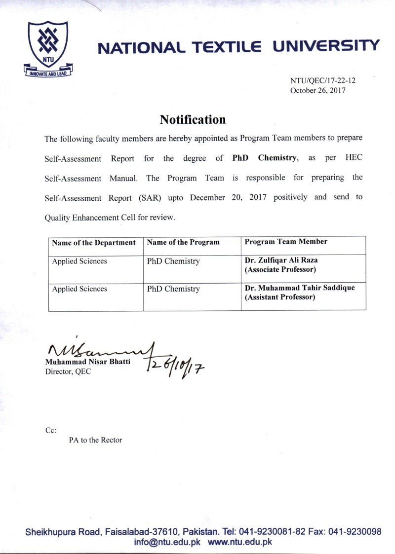 Notification of Program Team Members for the degree of Ph D