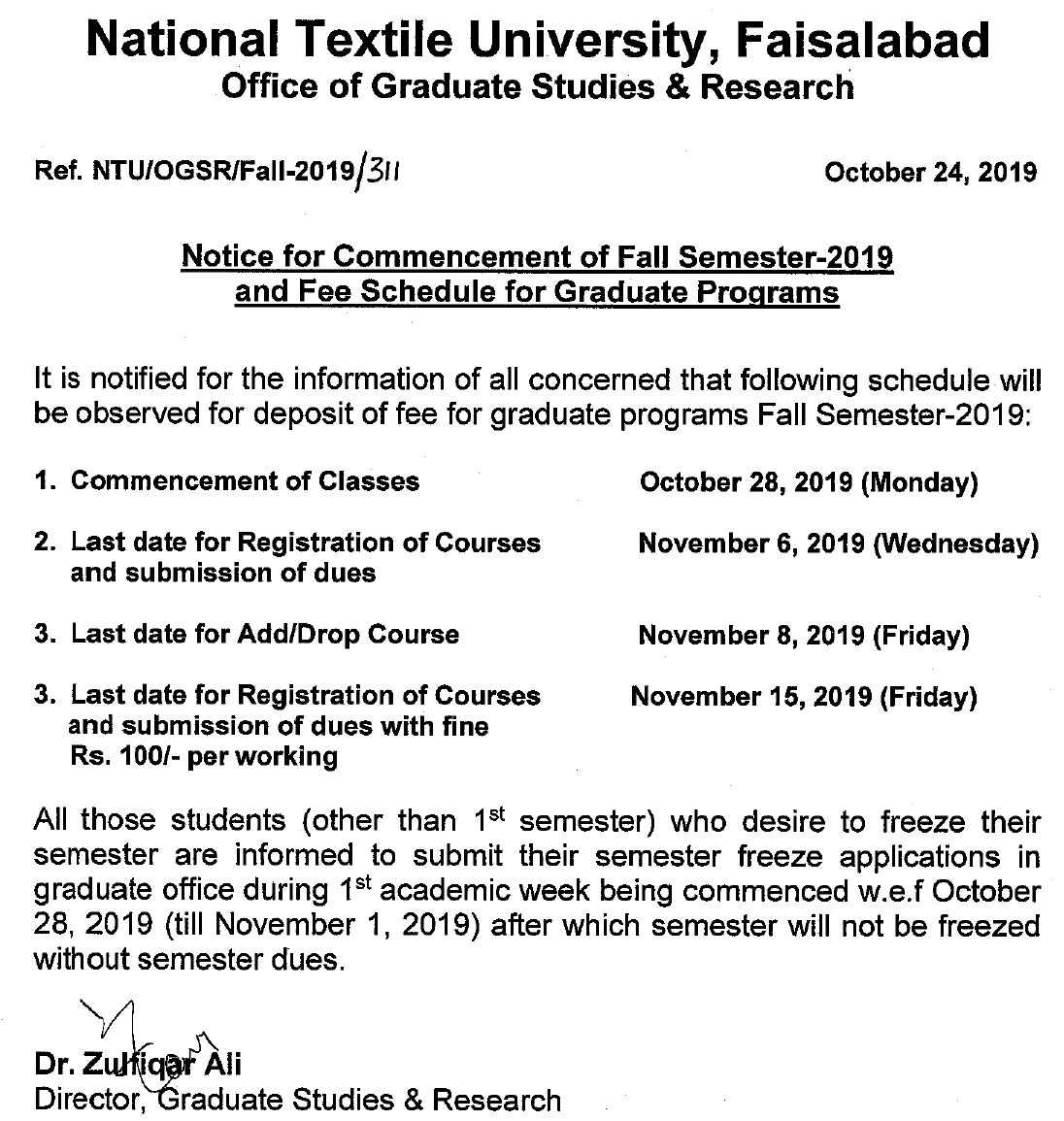 Notice For Commencement Of Fall Semester 2019 And Fee Schedule For